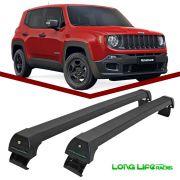 Rack Teto Bagageiro Jeep Renegade sem barras Longitudinais Longlife Modelo Aluminio Preto