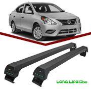 Rack Teto Bagageiro Nissan Versa Sedan Longlife Modelo Aluminio Preto