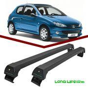 Rack Teto Bagageiro Peugeot 206 / 207 Hatch e Sedan 4 portas Longlife Modelo Aluminio Preto