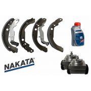 Sapata de Freio Nakata + 2 Cilindros de Roda Controil + Fluido Bosch Duster 2012 a 2017