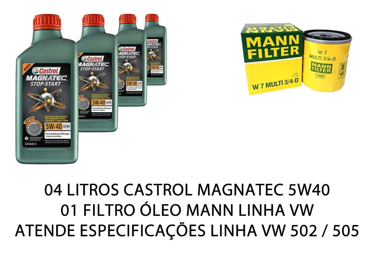 4 Lt Castrol Magnatec 5w40 Original Vw 502 + Filtro Linha Vw  - Unicar