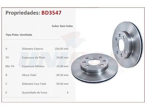 Pastilha + Disco Freio Dianteiro GM Spin 1.8 Fabricação 2013 a 2016  - Unicar