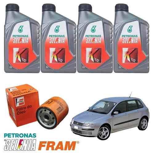 Kit Troca De Oleo + Filtro + Bujao Fiat Stilo 1.8 Selenia 15w40  - Unicar