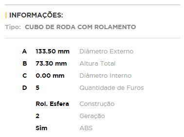Cubo com Rolamento Roda Traseira Fiat Toro 1.8 / 2.0 / 2.4 Todos 4x2 (Ref. FWB0820)  - Unicar