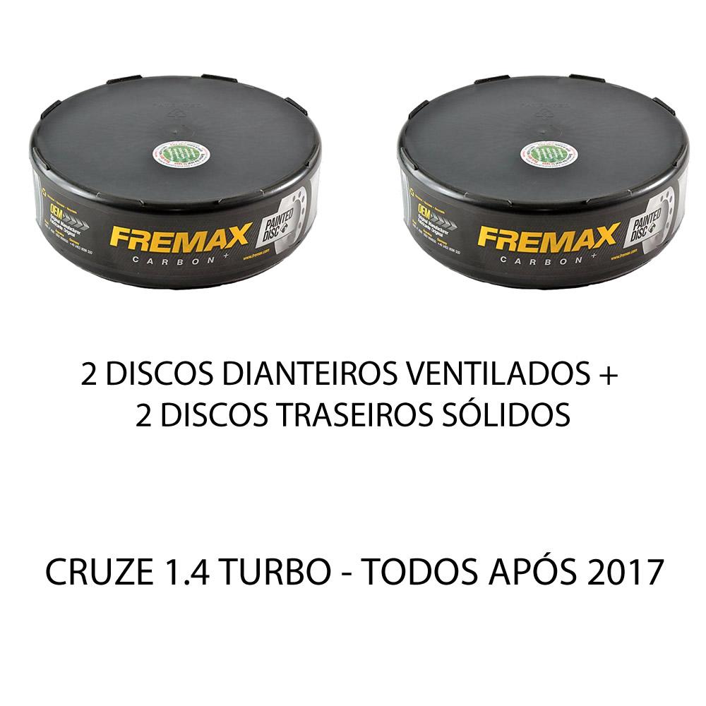 Disco e Pastilha Freio Dianteiro + Traseiro Cruze 1.4 Turbo Após 2017  - Unicar