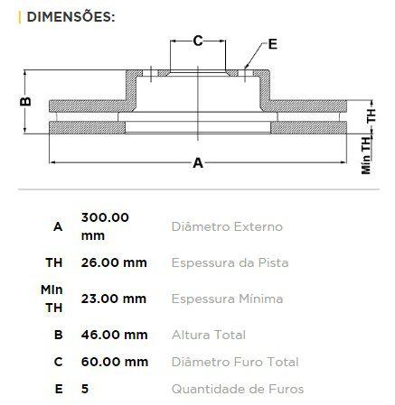 Disco + Pastilha Freio Dianteira GM Tracker 1.8 16v 2012 a 2013