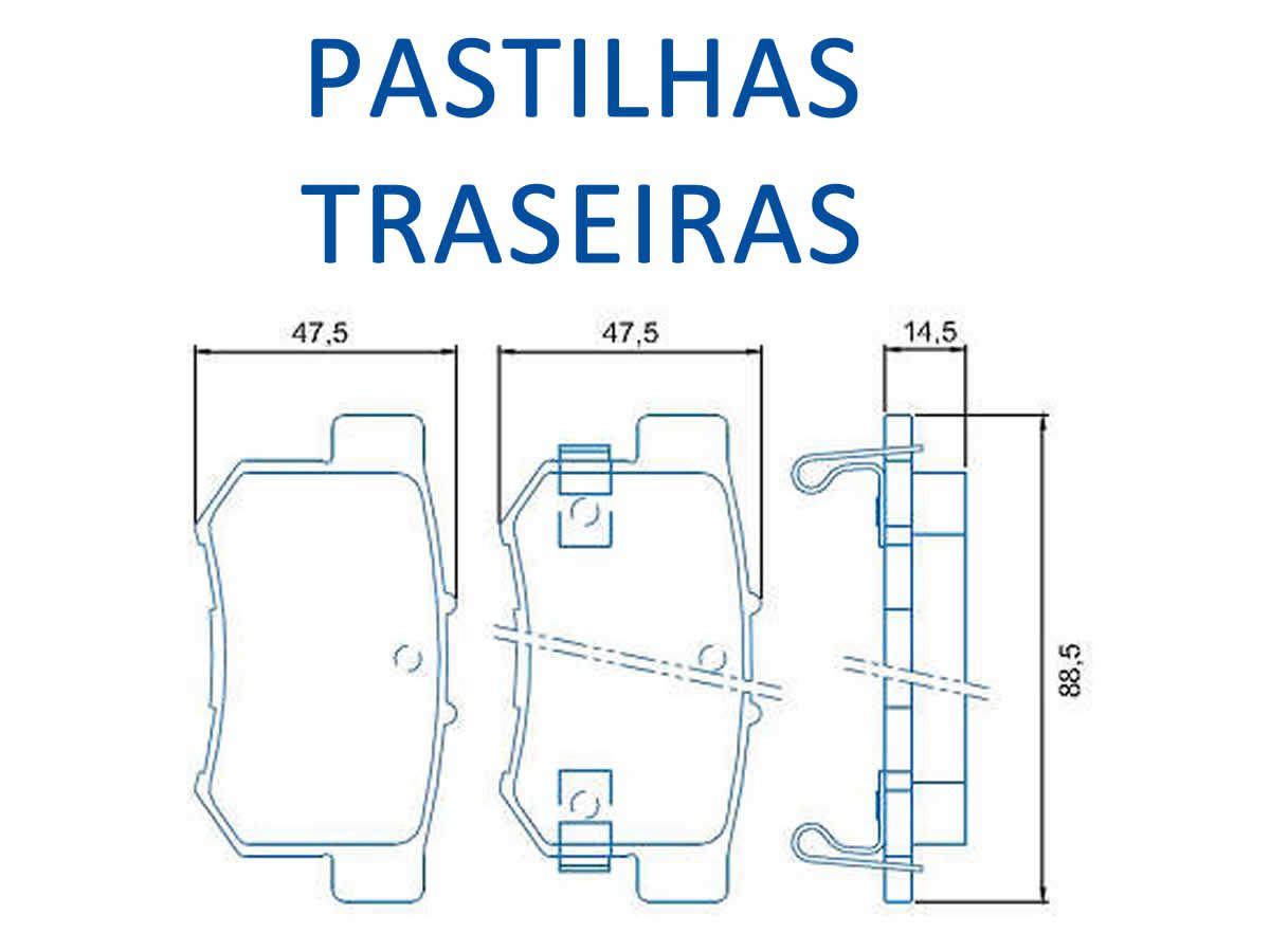 Disco + Pastilha Freio Dianteiro e Traseiro Suzuki SX4 2.0 16V 2009 a 2016