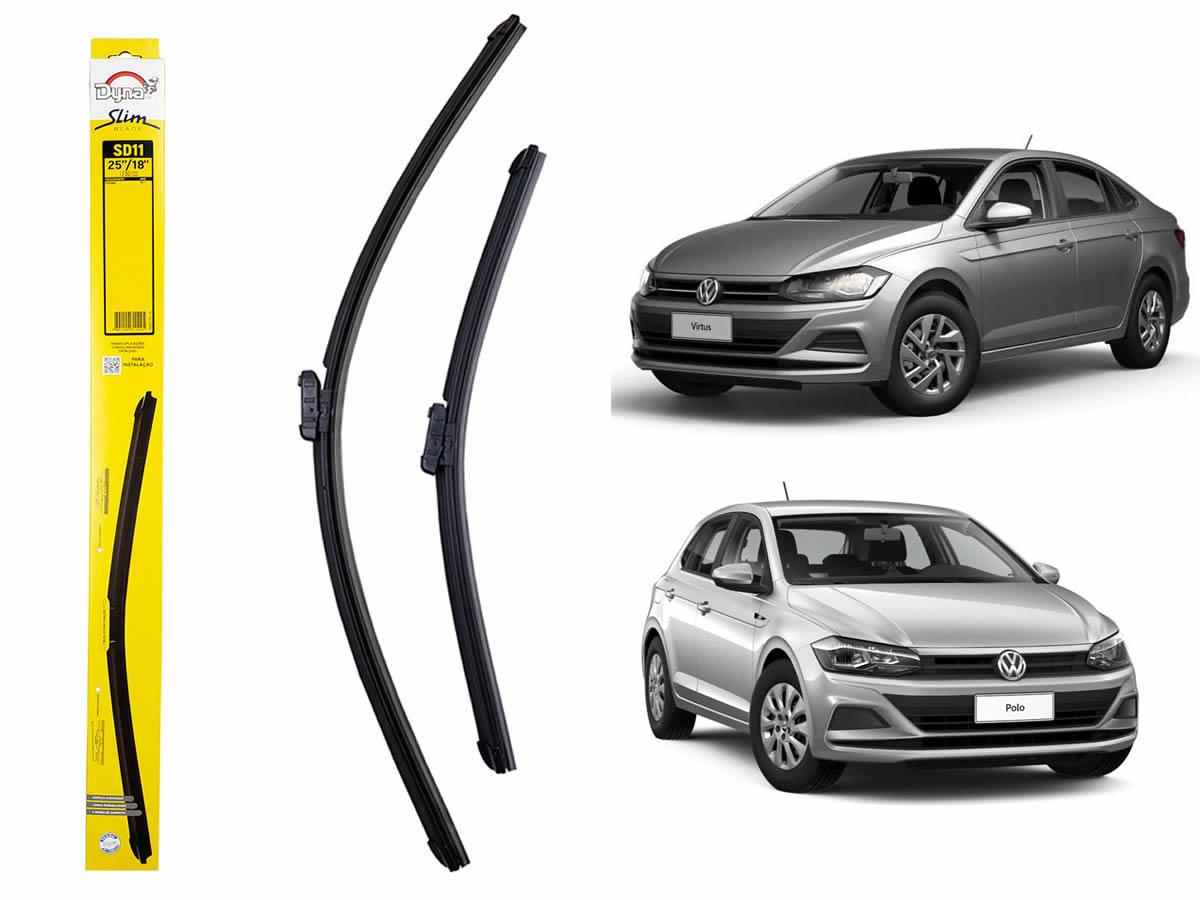 Jogo Palheta Limpador Parabrisa Dianteiro VW Polo Após 2017 Virtus Após 2019 Original Dyna  - Unicar