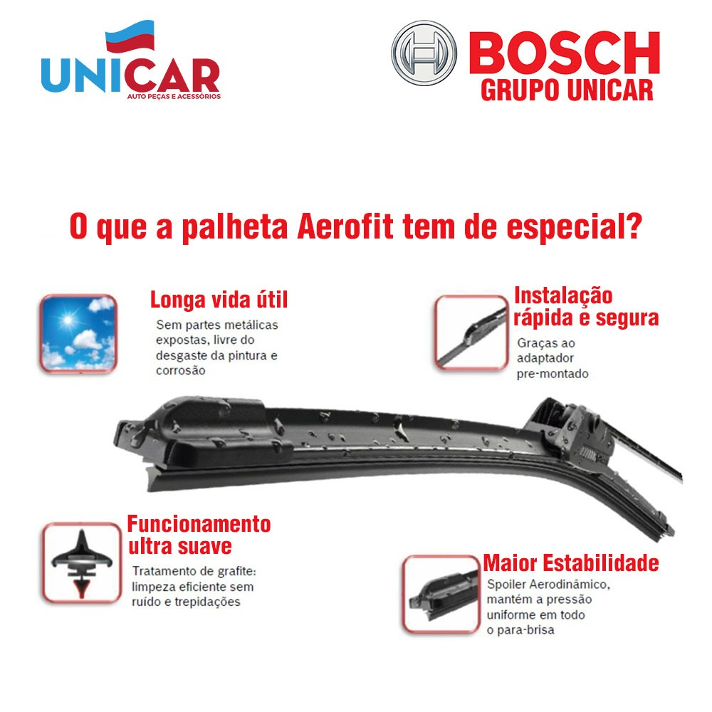 Jogo Palheta Original Bosch Aerofit Suzuki Grand Vitara 1998 a 2015  - Unicar