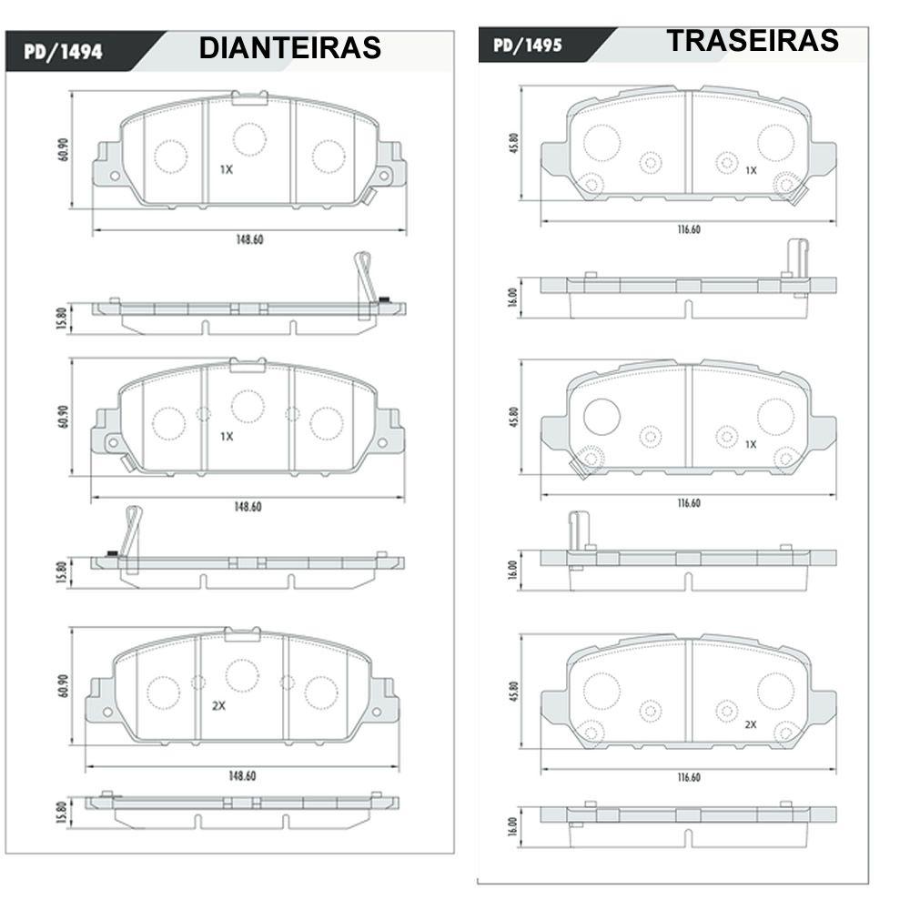 Jogo Pastilha Freio Dianteiro + Traseiro Honda HRV 2015 em diante