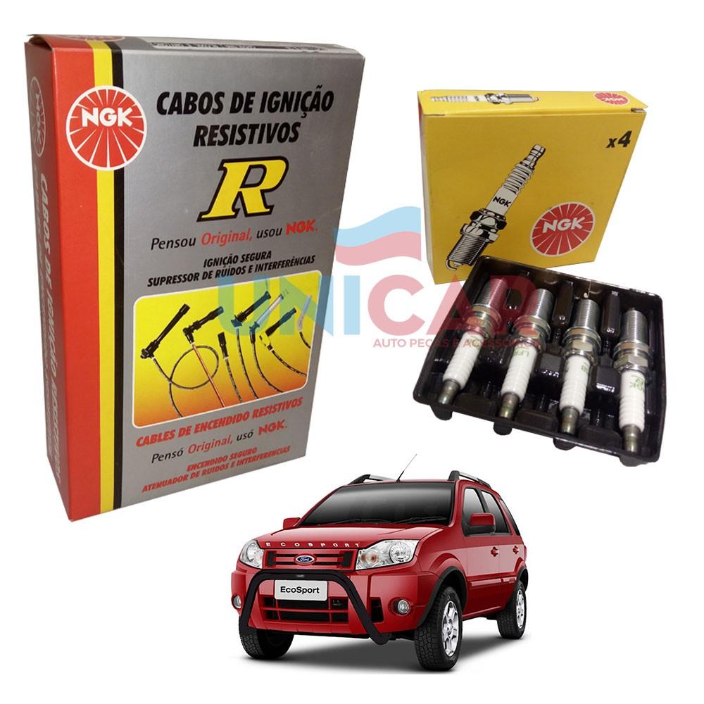 Kit Cabos + Velas Ecosport 1.6 8V Zetec Rocam 2003 a 2012  - Unicar