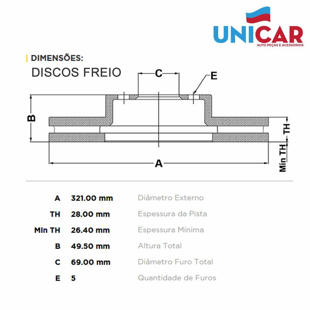 Kit Disco e Pastilha Freio Dianteiro Sorento 2.4 / 3.5 2010 a 2015  - Unicar
