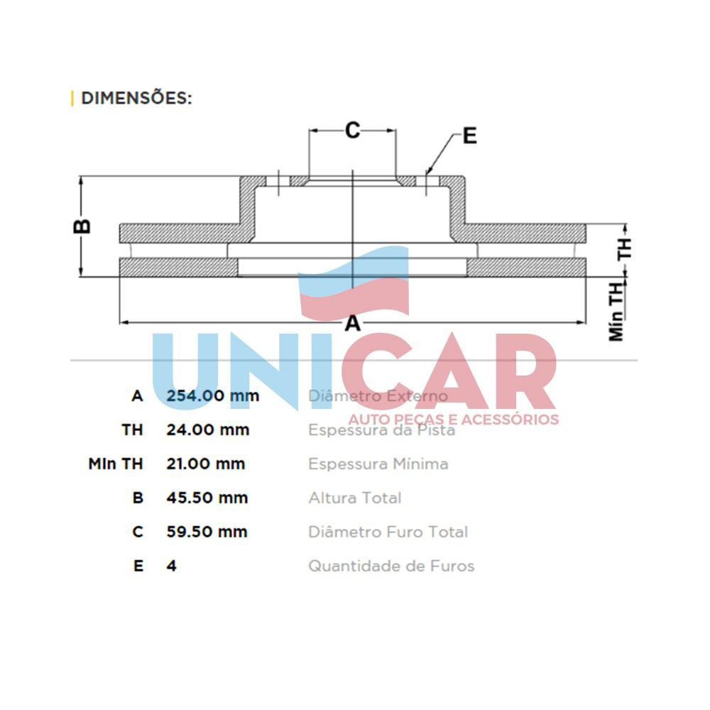 Kit Disco + Pastilha Freio Dianteiro Cobalt 1.4 1.8 com Abs  - Unicar