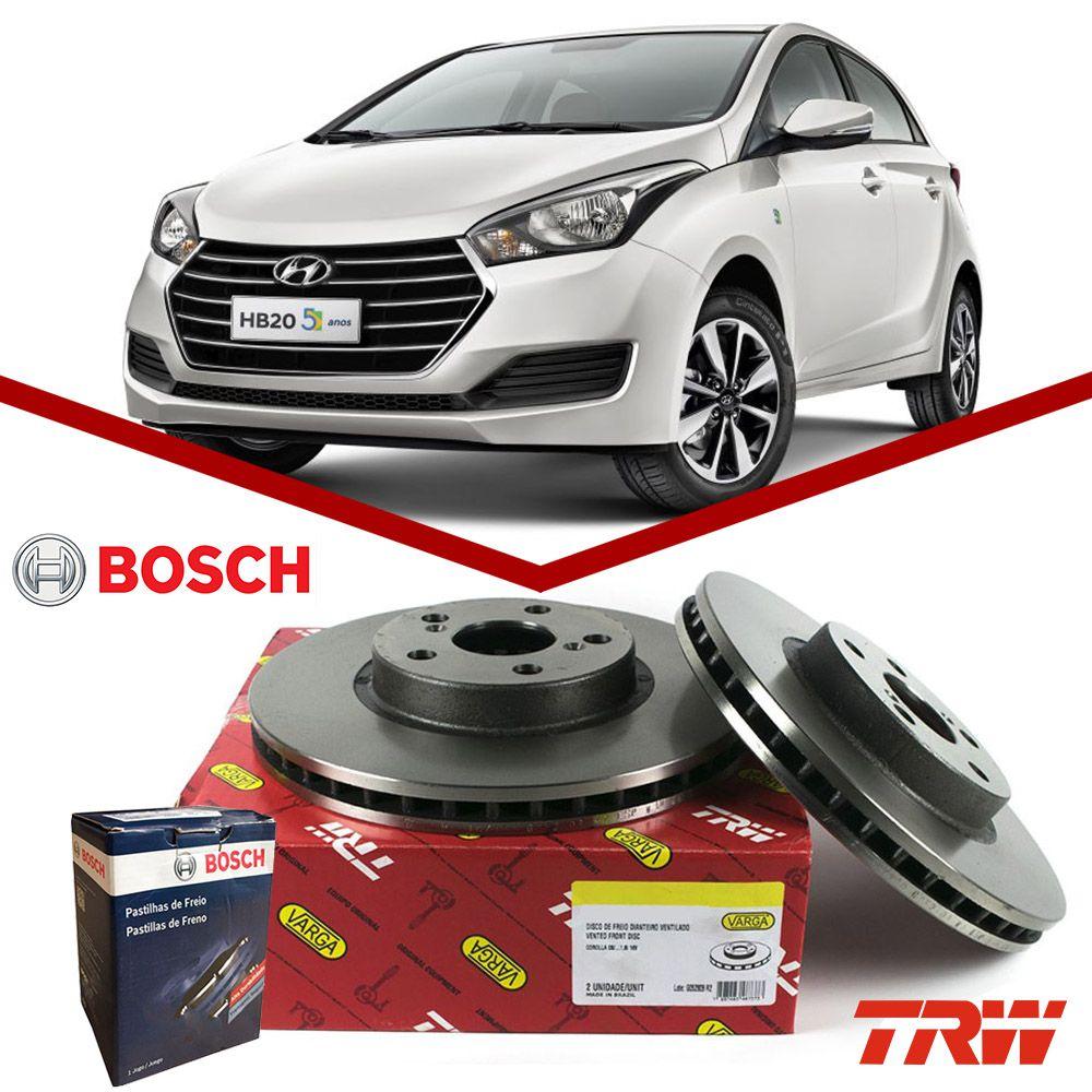 Kit Disco + Pastilha Freio Dianteiro HB20 1.6 16v 2013 2014 2015 2016 2017 2018 2019 2020 TRW Bosch  - Unicar