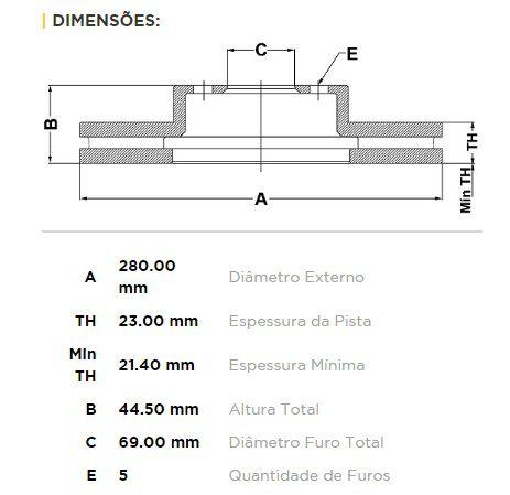 Kit Disco + Pastilha Freio Dianteiro Cerato Após 2013 i30 Após 2013 Veloster Elantra