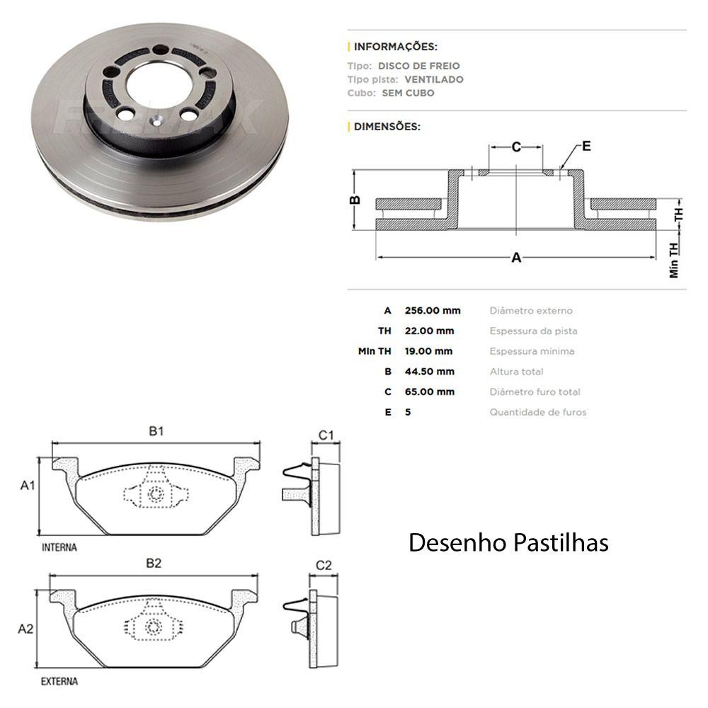 Kit Disco + Pastilha Freio Dianteiro Novo Polo Virtus 1.6 MSI 2018 em Diante  - Unicar