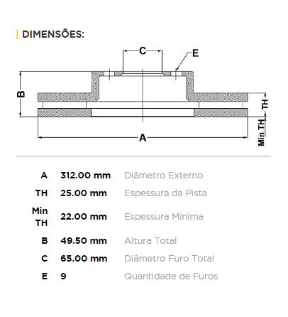 Kit Disco + Pastilha Freio Dianteiro VW Jetta 2.0 TSI 2011 A 2016