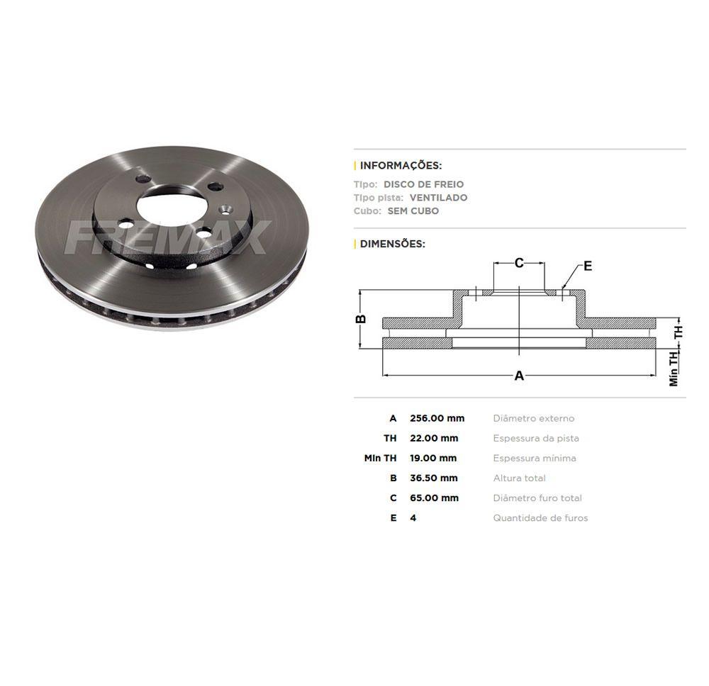 Kit Disco + Pastilha Freio Dianteiro VW Up TSI Disco 256mm  - Unicar