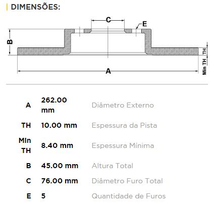 Kit Disco + Pastilha Freio Traseiro Kia Cerato 1.6 A Partir de 2013