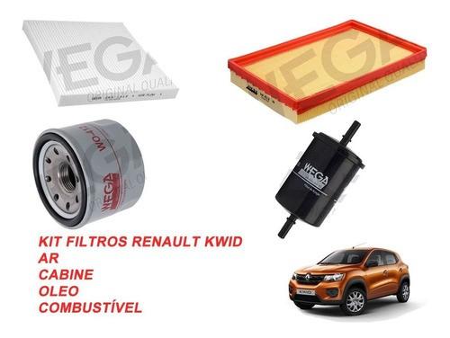 Kit Filtro Ar + Cabine + Oleo + Combustivel Renault Kwid 1.0 12v 2017 em diante Wega