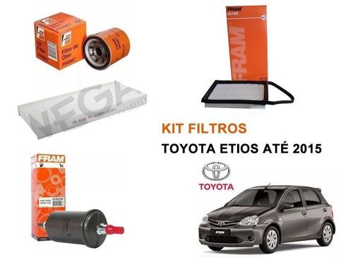 Kit Filtro Ar + Cabine + Oleo + Combustivel Toyota Etios 1.3 1.5 2013 a 2015  - Unicar