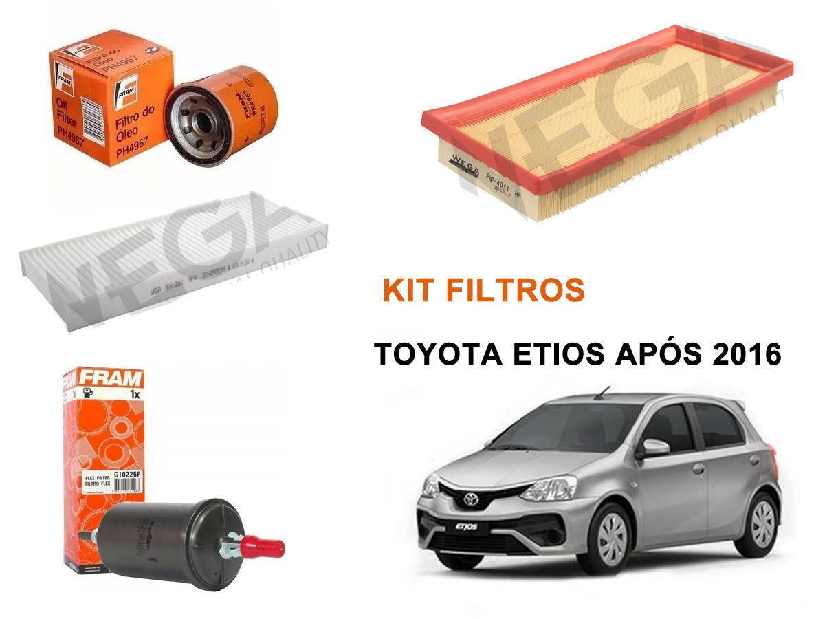 Kit Filtro Ar + Cabine + Oleo + Combustivel Toyota Etios 1.3 1.5 A Partir De 2016