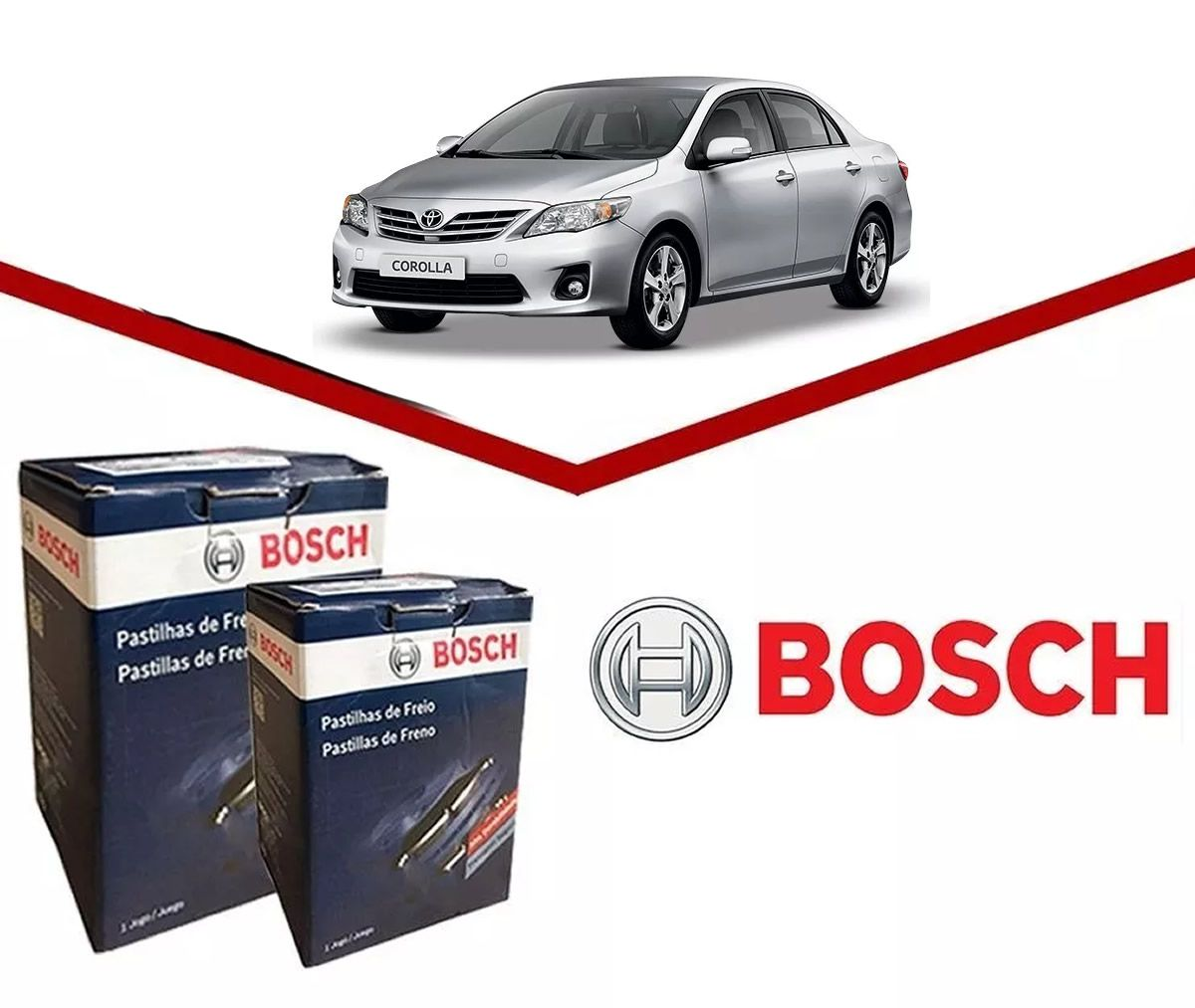 Kit Pastilhas Freio Dianteiro + Traseiro Corolla 2009 2010 2011 2012 2013 2014 Original Bosch  - Unicar