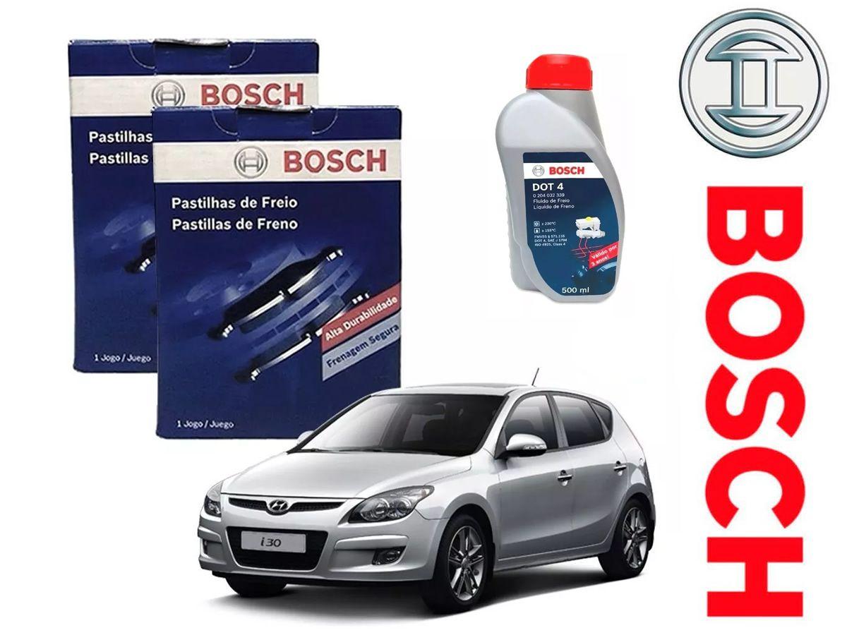 Kit Pastilhas Freio Dianteiro + Traseiro + Fluido Hyundai I30 2.0 16v 2009 a 2012 Bosch Original