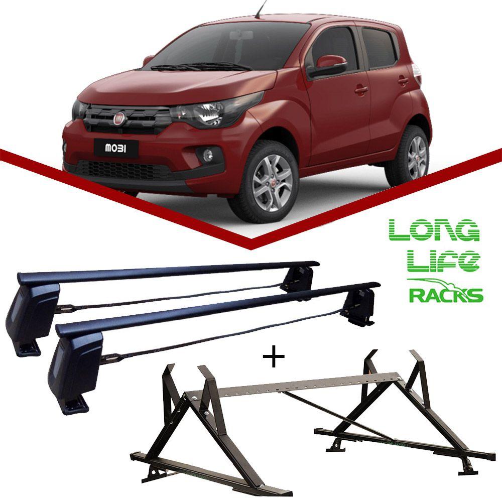 Kit Rack Longlife Steel + Porta Escadas Fiat Mobi 4 Portas
