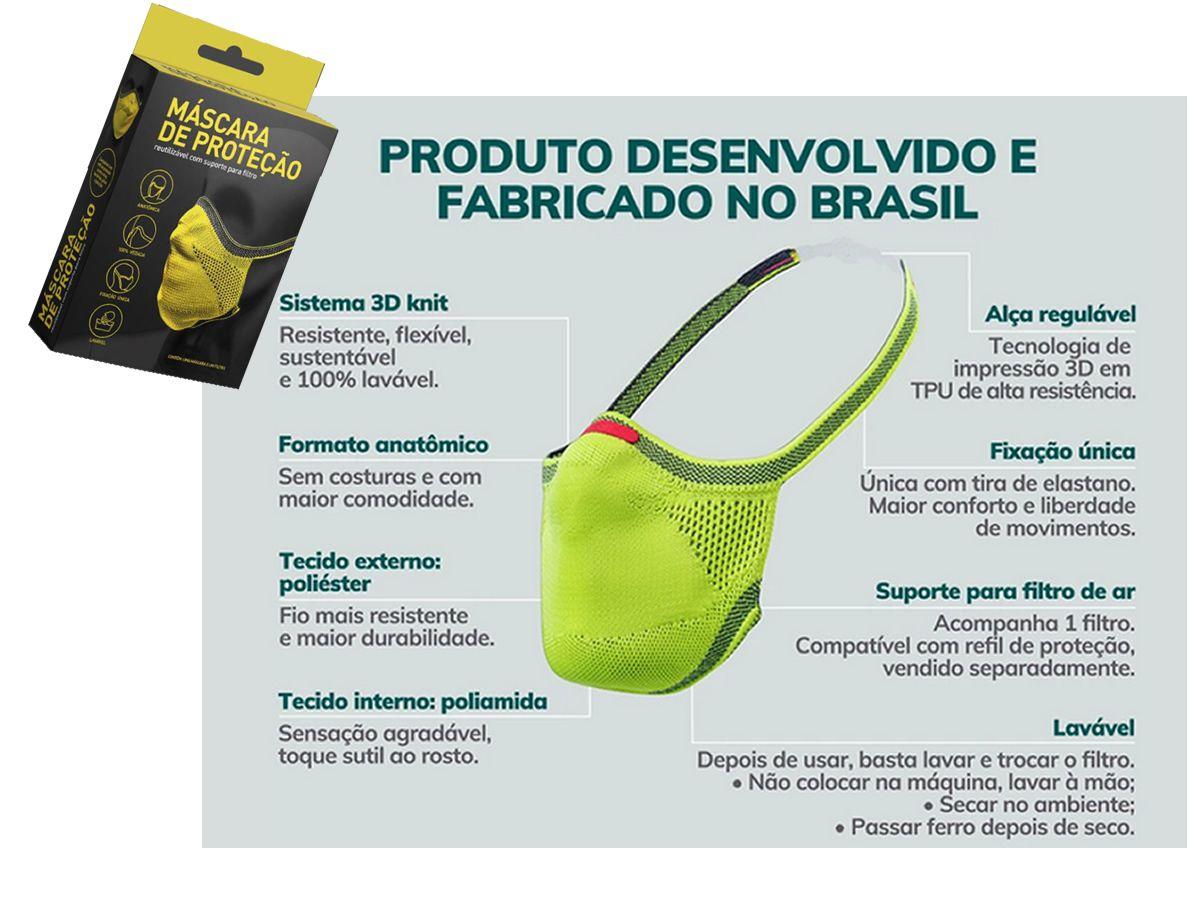Máscara de Proteção Respiratória 3d Knit Fiber Lavável Com Filtro   - Unicar