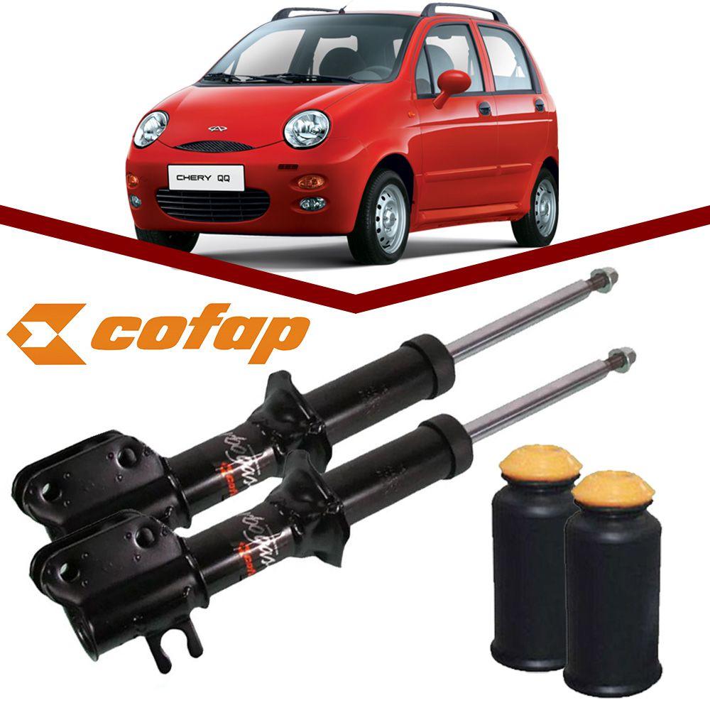 Par Amortecedor Dianteiro + Kit batente Chery Qq 2011 2012 2013 2014 2015 2016 Turbogas Cofap  - Unicar