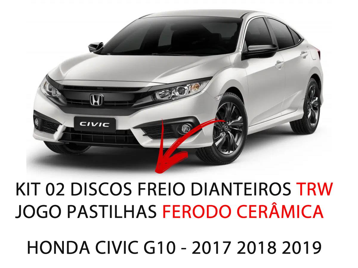 Pastilha Ceramica + Disco Freio Dianteiro Civic G10 2.0 e 1.5 2017 a 2019  - Unicar