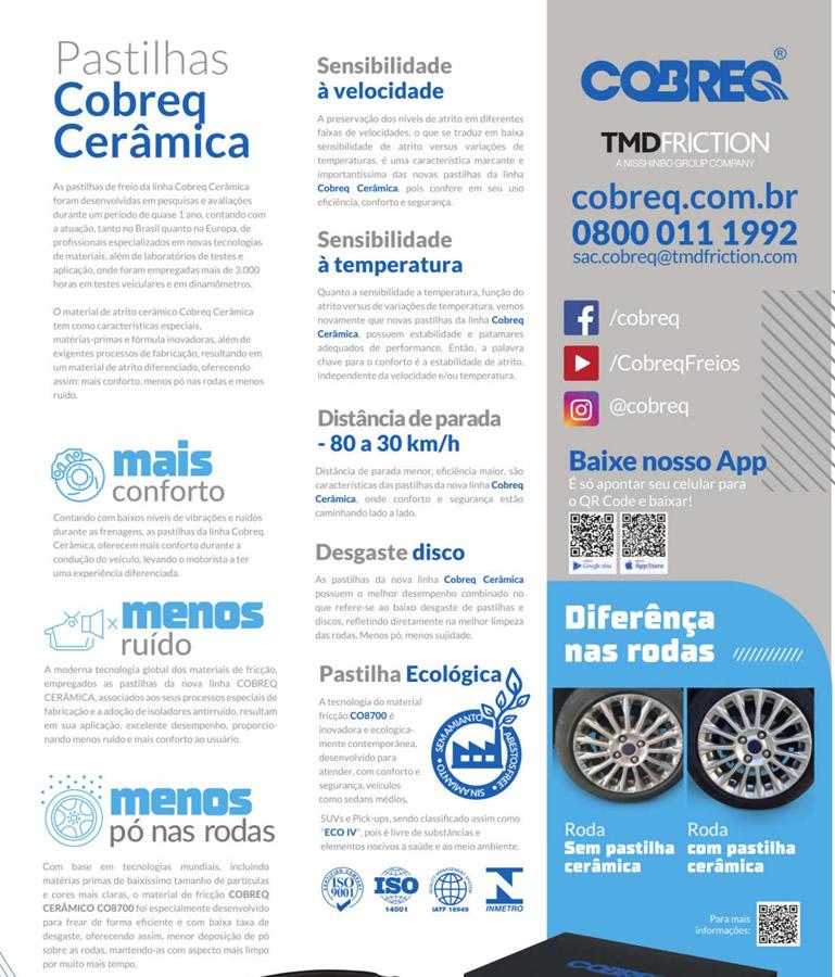 Pastilha de Freio Dianteira Cerâmica Cruze 1.4 Turbo a Partir de 2017 Original Cobreq  - Unicar