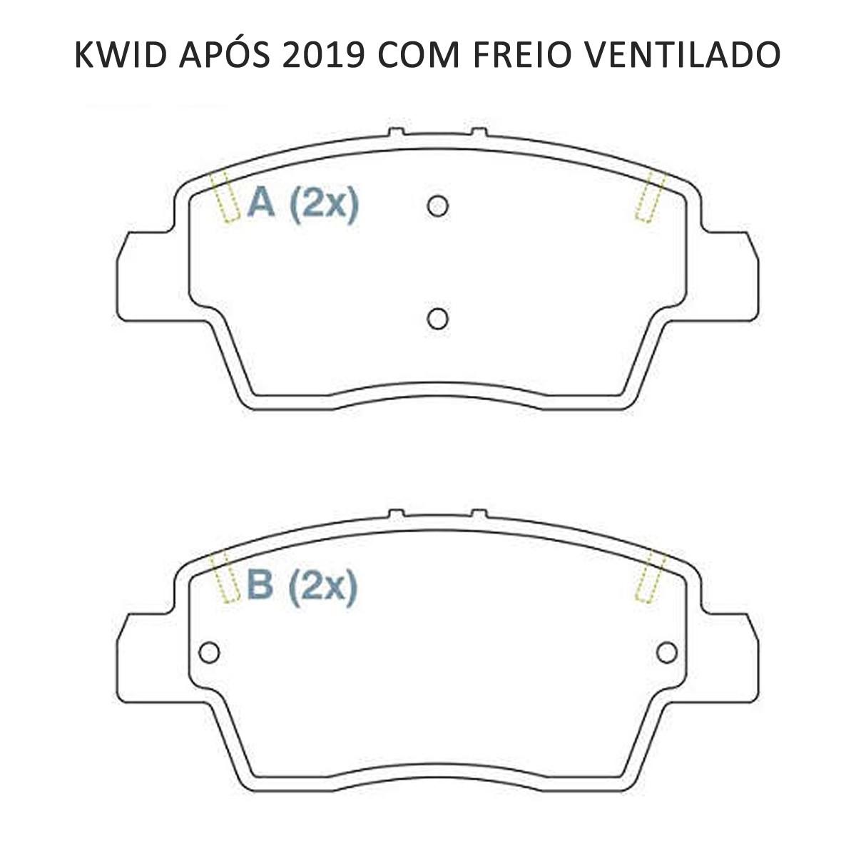 Pastilha Freio Dianteira Renault Kwid Após 2019 Freio Ventilado