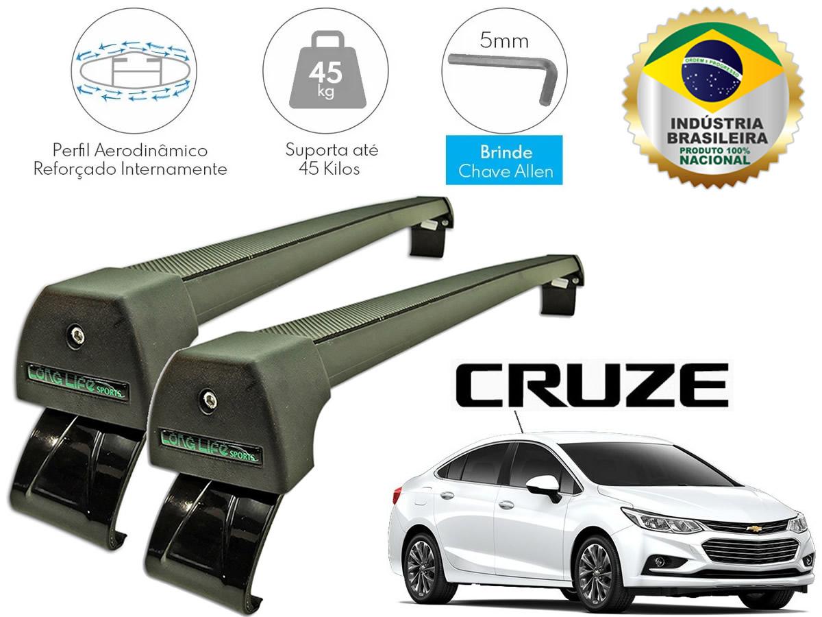 Rack de Teto Cruze Turbo Após 2017 LongLife Sport Alumínio Preto  - Unicar