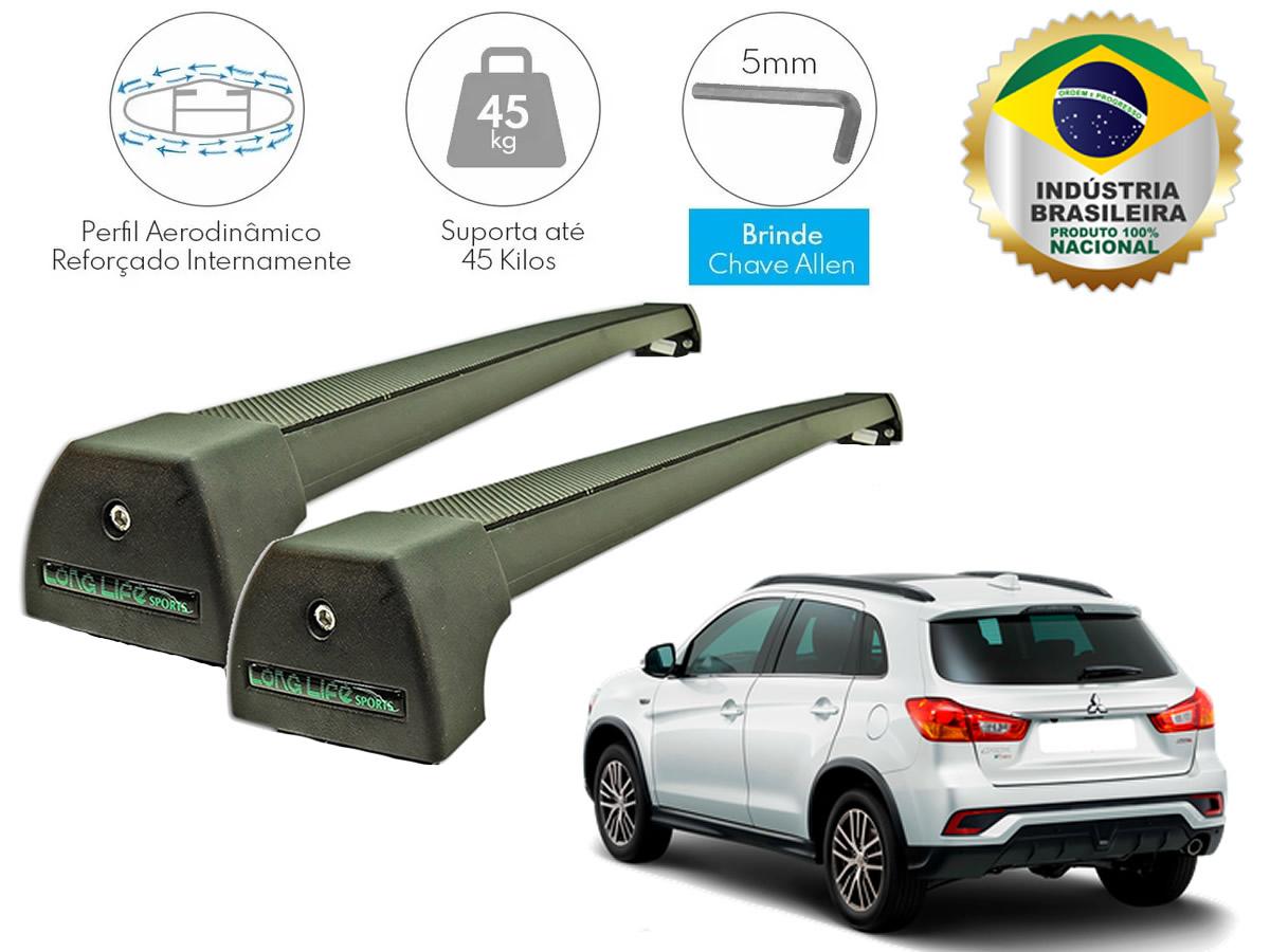 Rack de Teto Mitsubishi ASX Com Longarina Integrada no Teto LongLife Sport Alumínio Preto  - Unicar