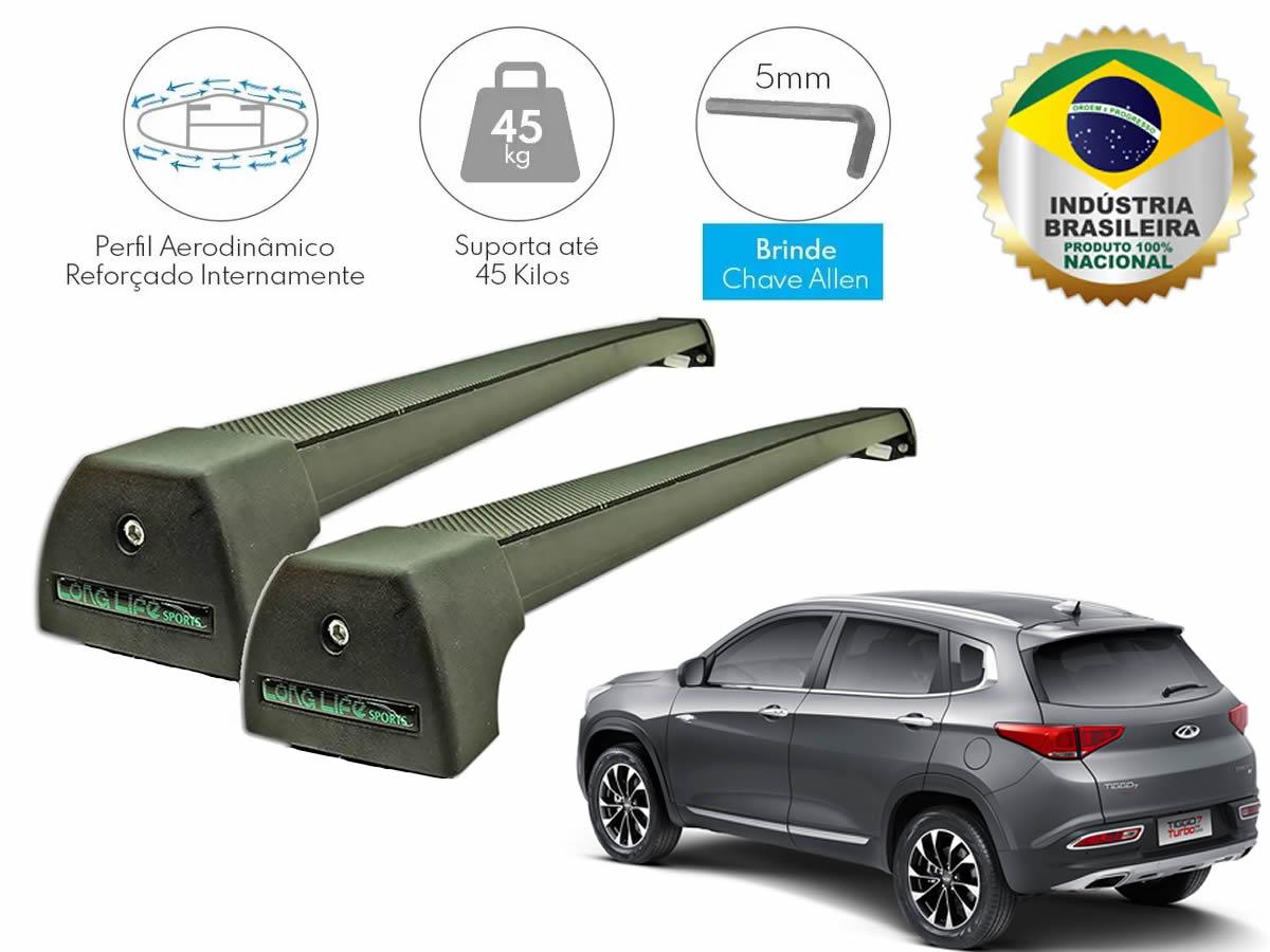Rack Teto Bagageiro Chery Tiggo 7 Após 2019 Com Longarina Integrada LongLife Alumínio Sport Preto  - Unicar