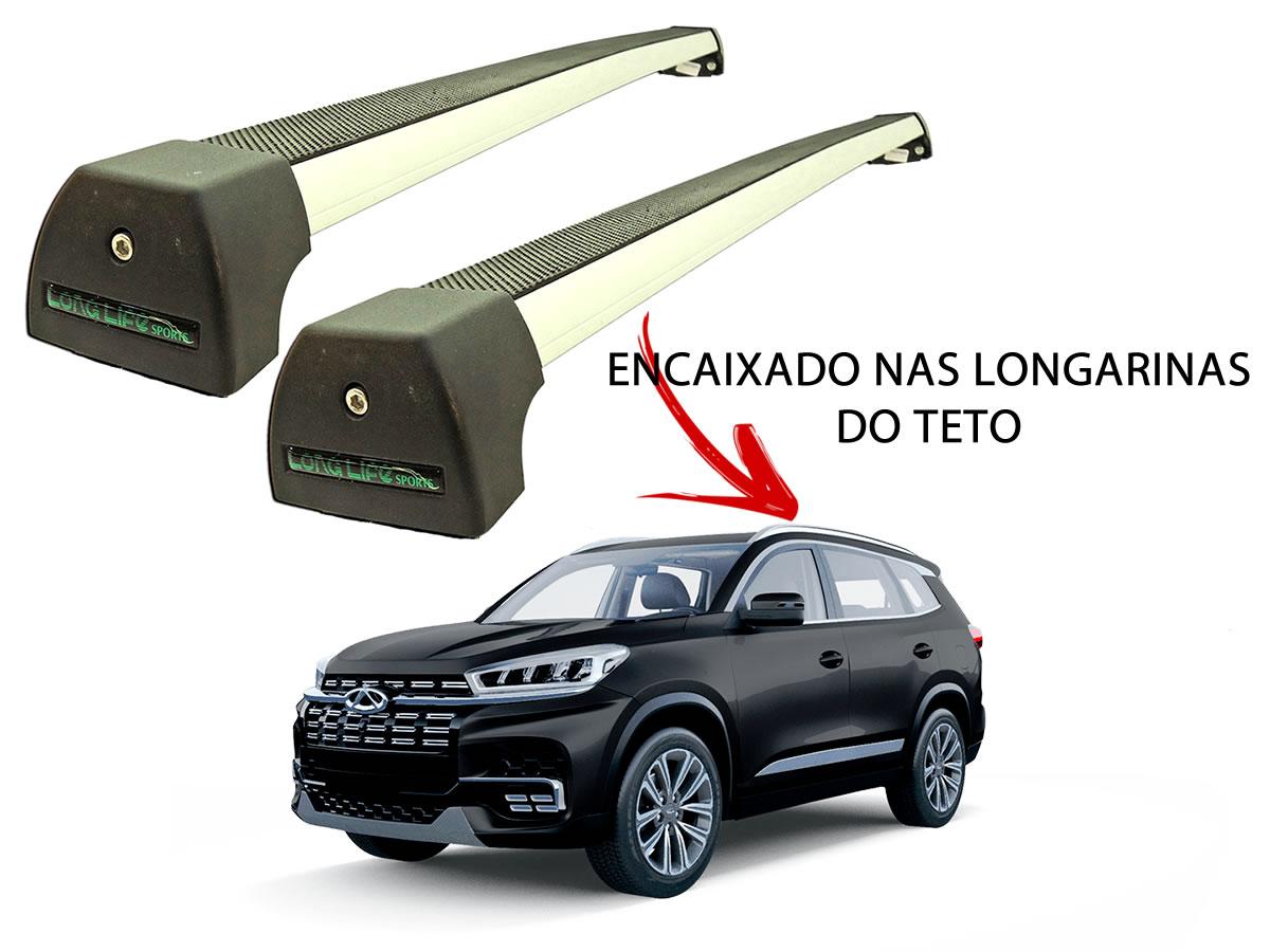 Rack Teto Bagageiro Chery Tiggo 8 Após 2020 Com Longarina Integrada LongLife Alumínio Sport Prata  - Unicar