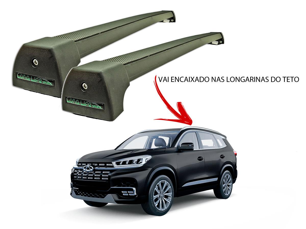 Rack Teto Bagageiro Chery Tiggo 8 Após 2020 Com Longarina Integrada LongLife Alumínio Sport Preto