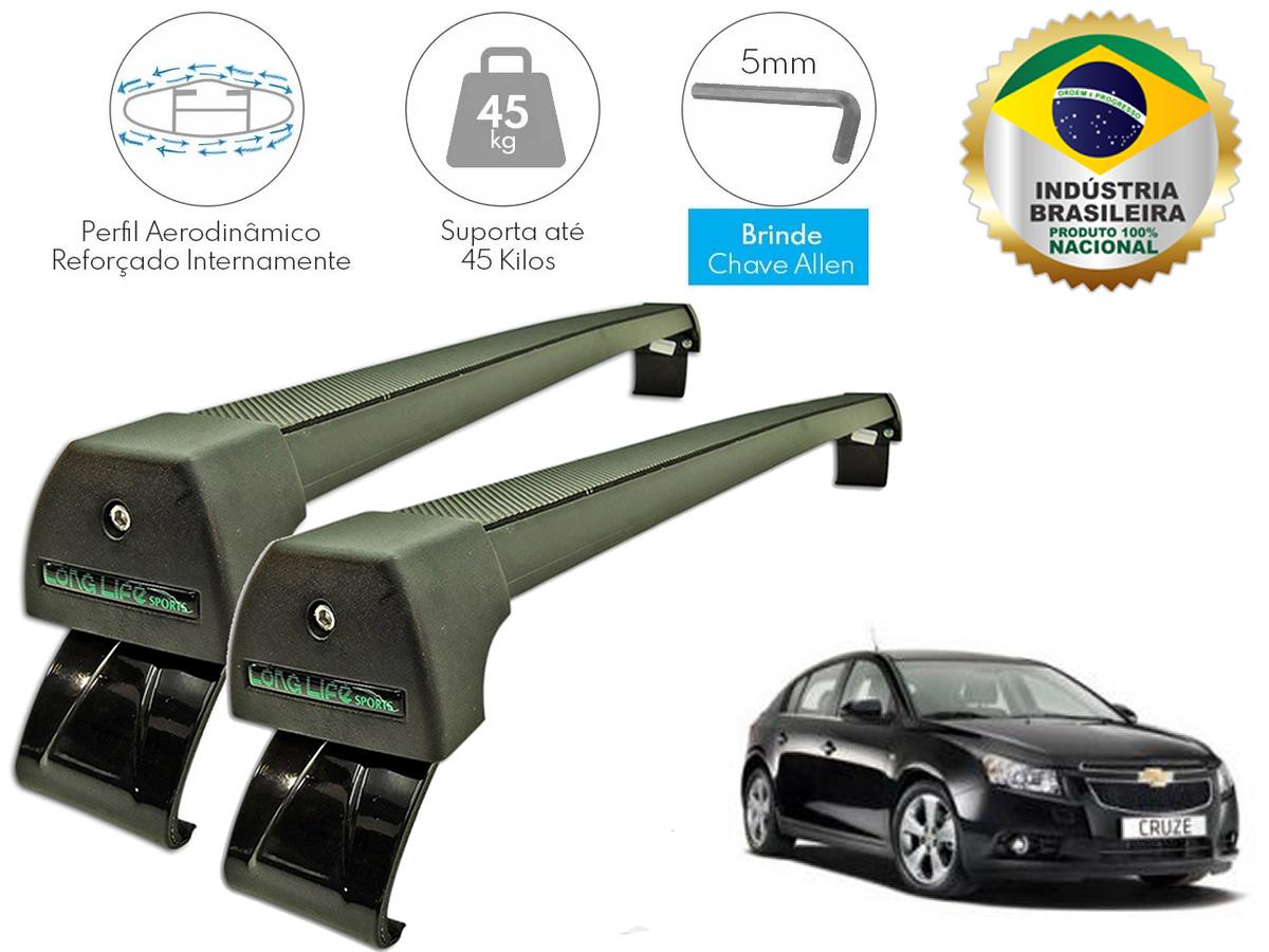 Rack Teto Bagageiro Cruze Hatch e Sedan Até 2016 Longlife Modelo Aluminio Preto  - Unicar
