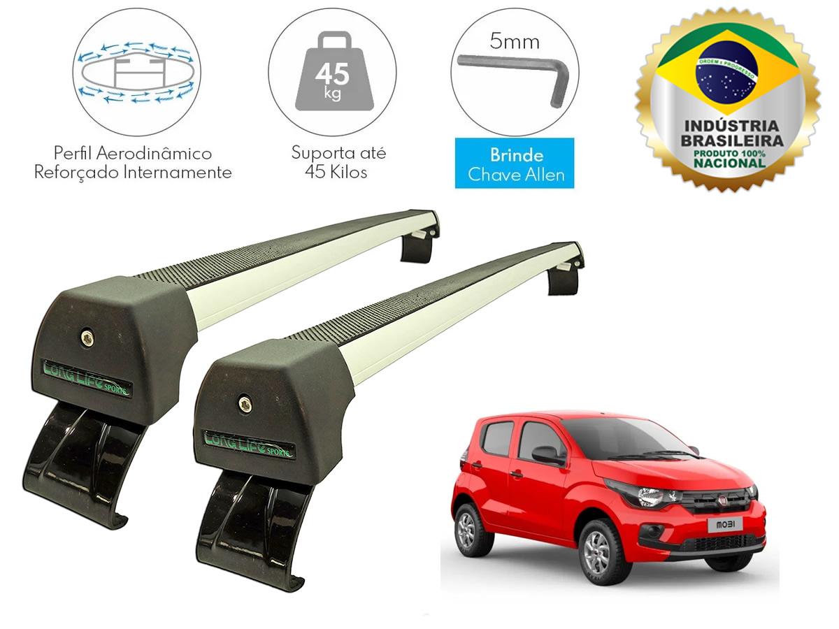 Rack Teto Bagageiro Fiat Mobi Todos Sem Longarina no Teto Longlife Sport Aluminio Anodizado  - Unicar