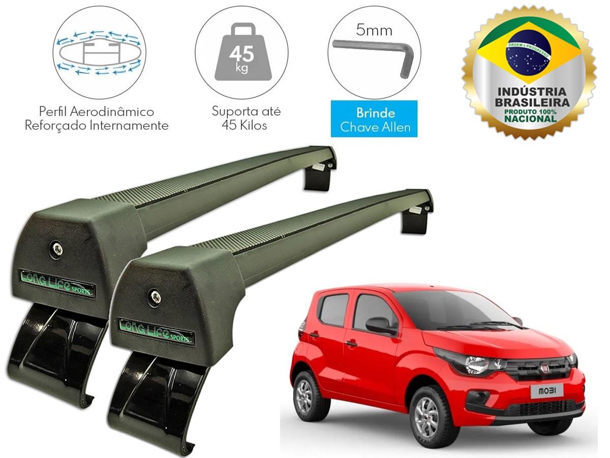 Rack Teto Bagageiro Fiat Mobi Todos Longlife Sport Aluminio Preto  - Unicar