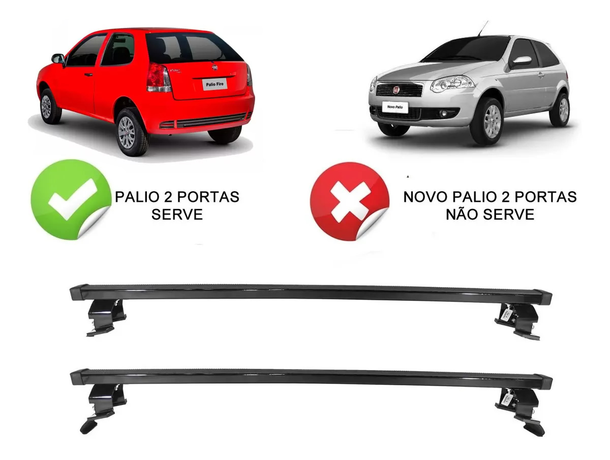 Rack Teto Bagageiro Fiat Palio 2 Portas Todos Exceto Modelo Novo Palio