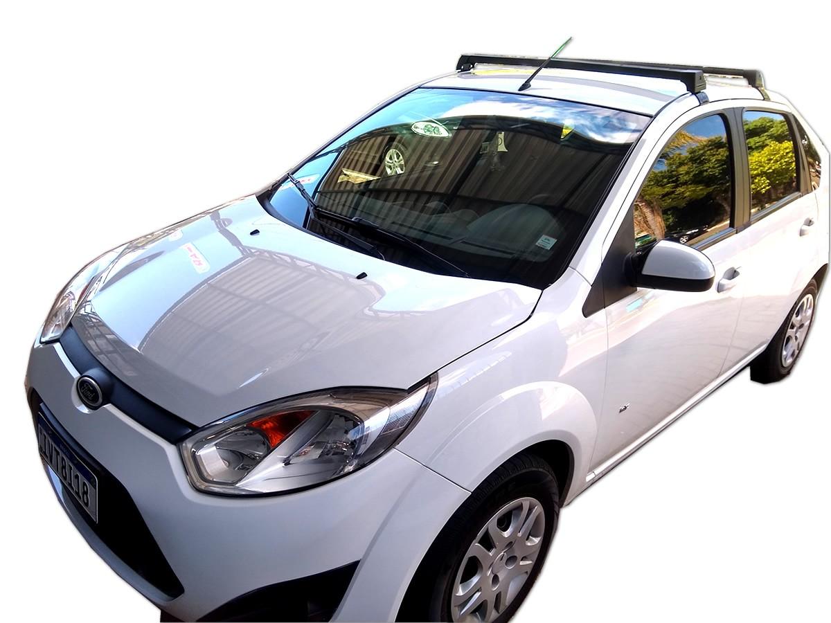 Rack Teto Bagageiro Fiesta Hatch Sedan 2003 Em Diante Longlife Modelo Aluminio Preto
