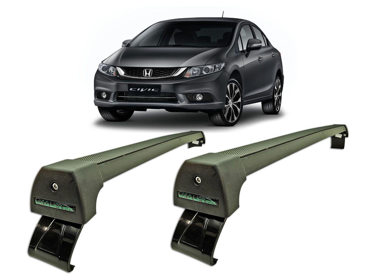 Rack Teto Bagageiro Honda Civic 2015 a 2016 LongLife Sport Alumínio Preto