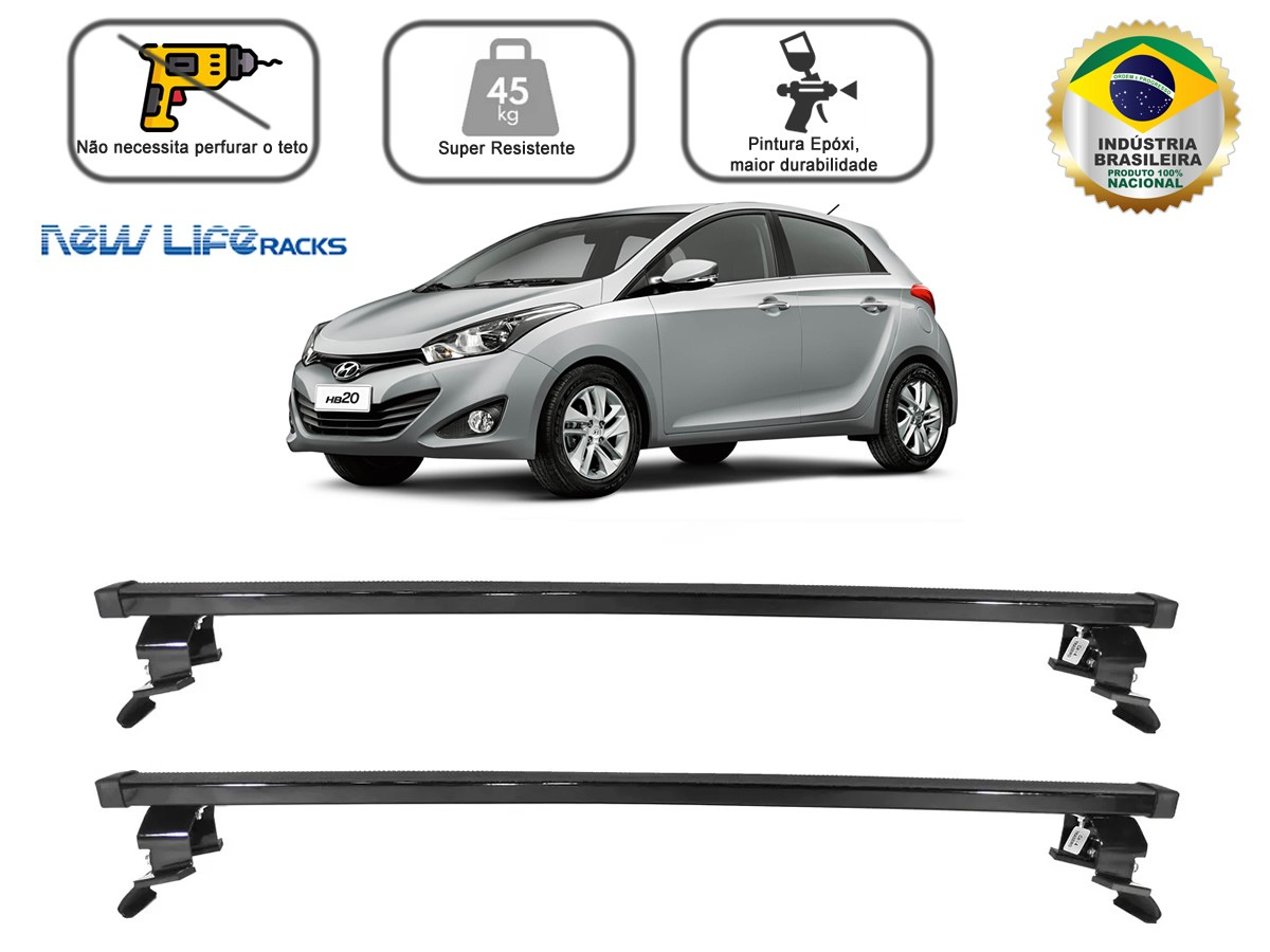 Rack Teto Bagageiro Hyundai HB20 2012 a 2019 Todos Exceto HB20X