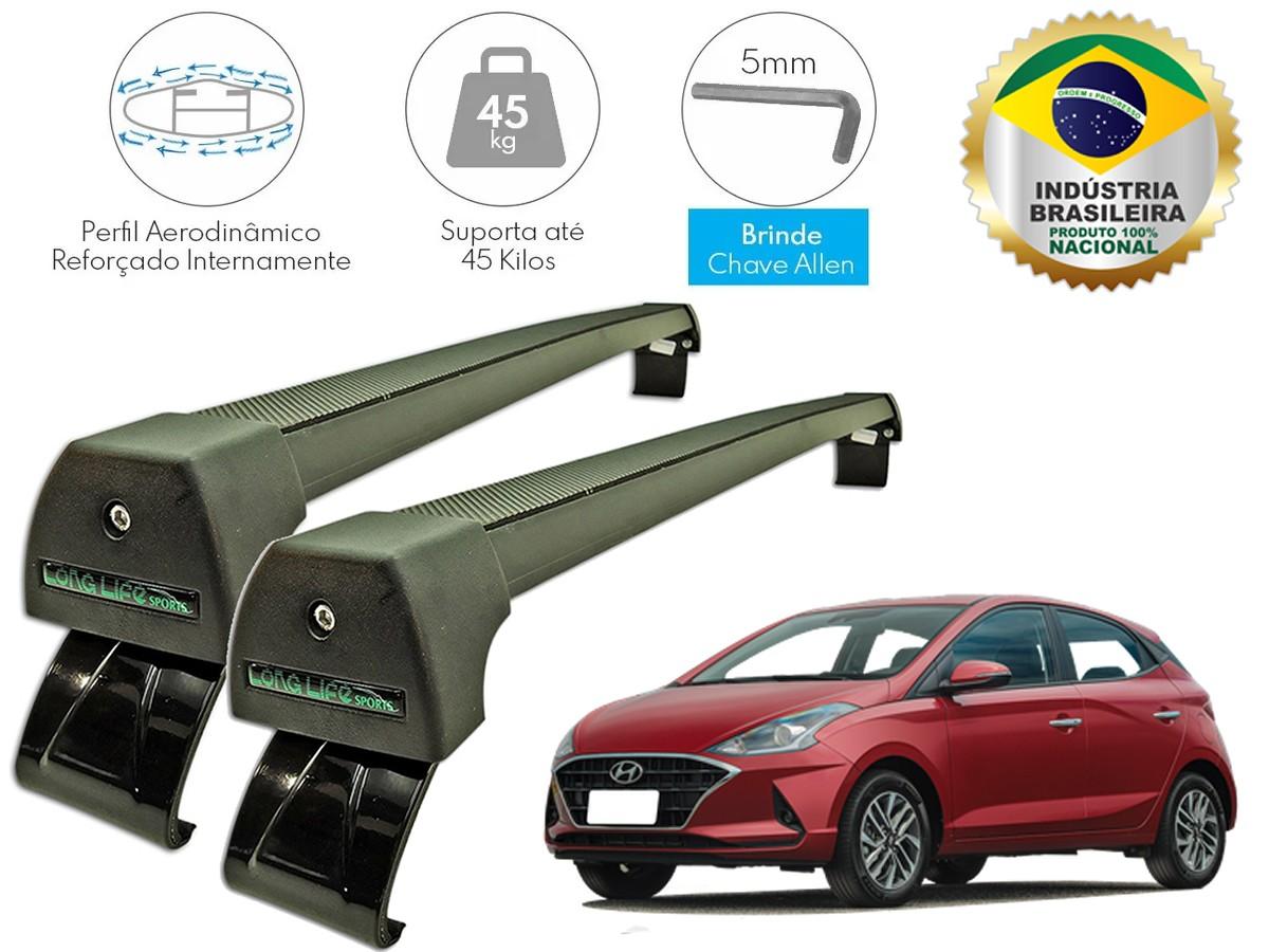 Rack Teto Bagageiro Hyundai HB20 Após 2020 LongLife Sport Aluminio Preto