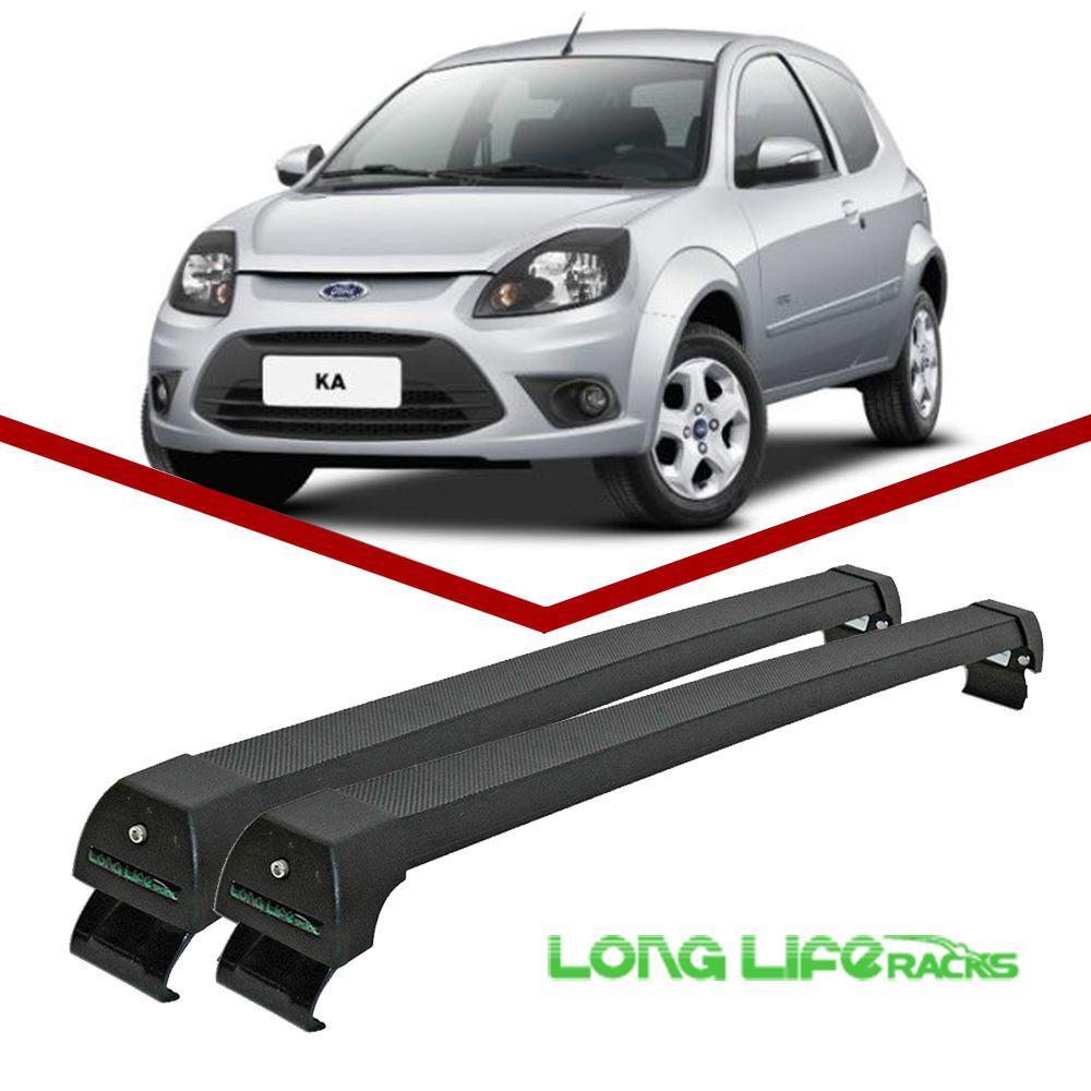 Rack Teto Bagageiro Ka 2008 a 2013 Aluminio Longlife Preto  - Unicar