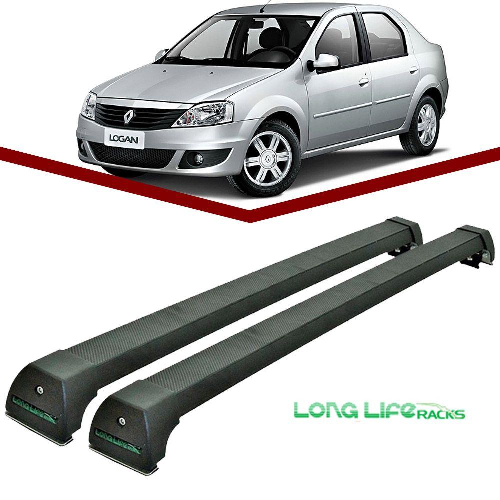 Rack Teto Bagageiro Logan ate 2013 Longlife Modelo Aluminio Preto  - Unicar