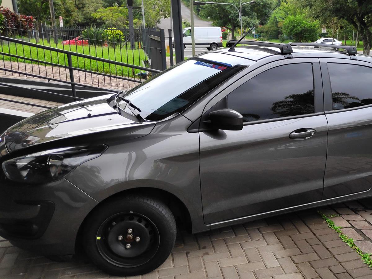 Rack teto Bagageiro Novo Ford Ka Hatch Sedan 2015 Em Diante Longlife Modelo Aluminio Preto  - Unicar